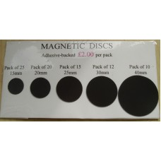 Magnetic Discs, Adhesive-backed  30mm, Pack of 12